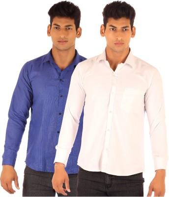 Ojjo Men's Solid Formal Pink, Blue Shirt