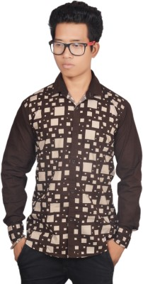Pitchers Men's Self Design Casual Brown Shirt