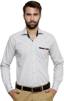 Ebry Men's Printed Formal White Shirt