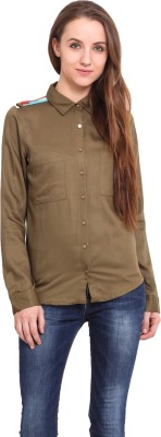 Ama Bella Women's Solid Casual Beige Shirt