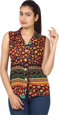 Cotton Fab Women's Printed Formal Reversible Orange Shirt