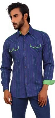 Monarch Men's Striped Casual Blue Shirt