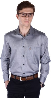 FRANK JEFFERSON Men's Solid Formal Grey Shirt