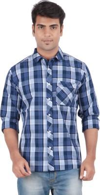 Anytime Men's Checkered Casual Dark Blue Shirt