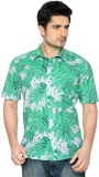 Thinc Men's Floral Print Formal Green Sh...