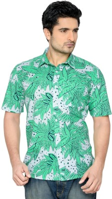 Thinc Men's Floral Print Formal Green Shirt