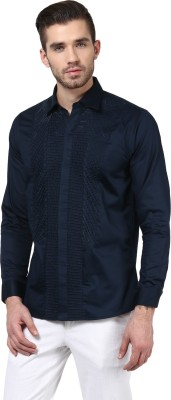 Invern Men's Solid Casual Dark Blue Shirt