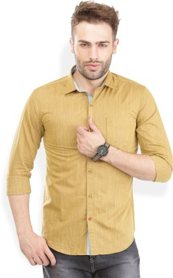 PAN VALLEY Men's Solid Casual Yellow Shirt