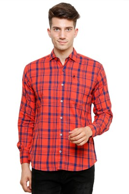 Ebry Men's Checkered Casual Red, Blue Shirt