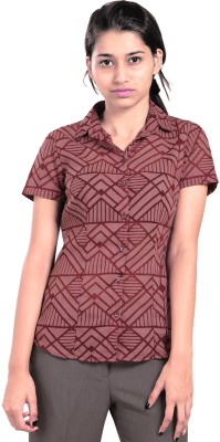 Eighteen27 Women's Geometric Print Casual, Party Red Shirt