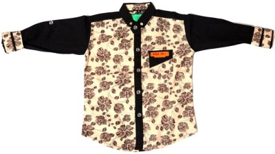 Kidicious Boy's Printed Casual Beige, Black Shirt