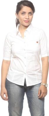 Spykar Women's Solid Casual White Shirt