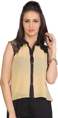 Iamyou Women's Solid Casual Beige Shirt