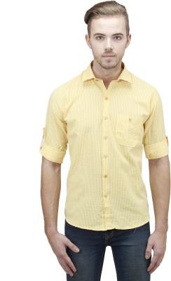 Unixx Men's Checkered Casual Yellow Shirt