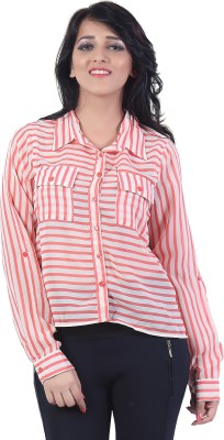 Bfly Women's Striped Casual Pink Shirt
