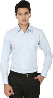 Inchitape Men's Solid Formal Blue Shirt