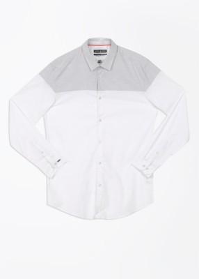 Arrow Newyork Men's Solid Casual White, Grey Shirt