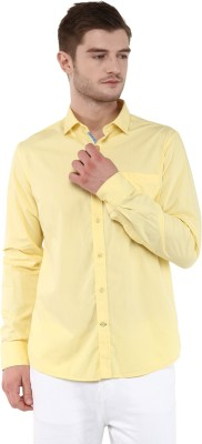 FUNK Men's Solid Casual Yellow Shirt