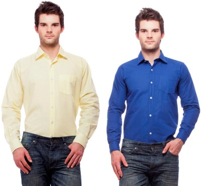 Fedrigo Men's Solid Casual Blue, Yellow Shirt