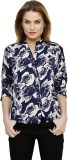 Ritzzy Women's Printed Casual Blue Shirt