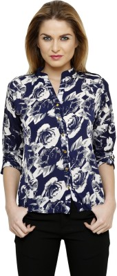 Ritzzy Women's Printed Casual Blue Shirt
