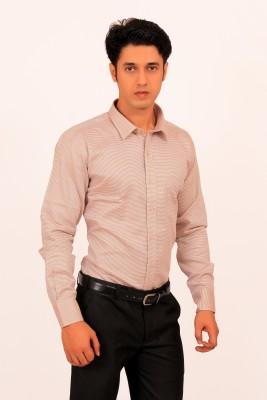 Green Bows Men's Self Design Formal Beige Shirt