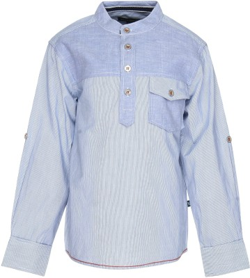 Bells and Whistles Boy's Striped Casual Blue Shirt
