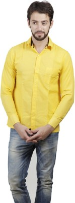 ZOLDY Men's Solid Formal Yellow Shirt
