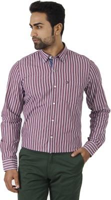 London Fog Men's Striped Formal White, Purple Shirt