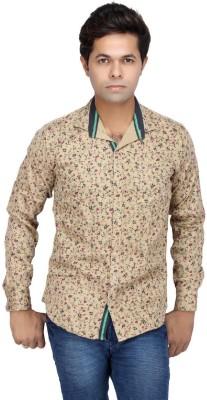 JG FORCEMAN Men's Printed Casual Gold Shirt