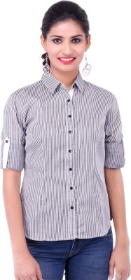 Fbbic Women's Striped Formal Black Shirt