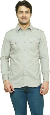 99 Hunts Men's Solid Casual Grey Shirt