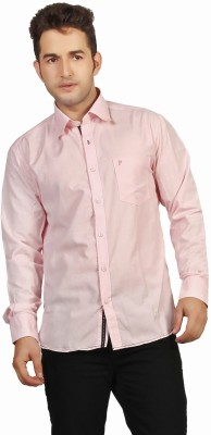 P4 Men's Solid Casual Pink Shirt