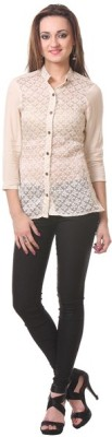 Oghaindia Women's Checkered Casual White Shirt