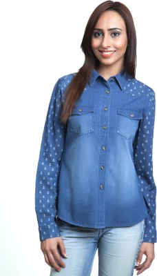 Colbrii Women,s Printed Casual Blue Shirt