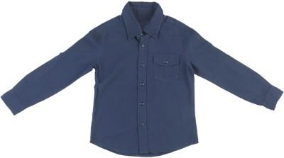Coffee Bean Boy's Solid Casual Dark Blue Shirt