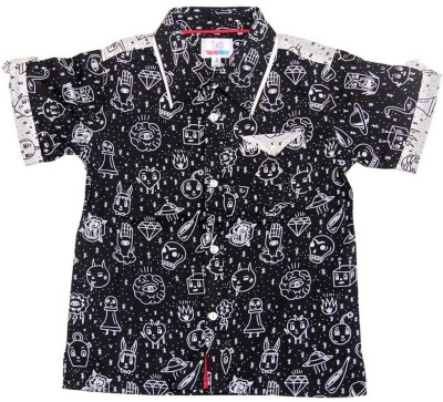 YOUNG BIRDS Boy's Printed Formal Black Shirt