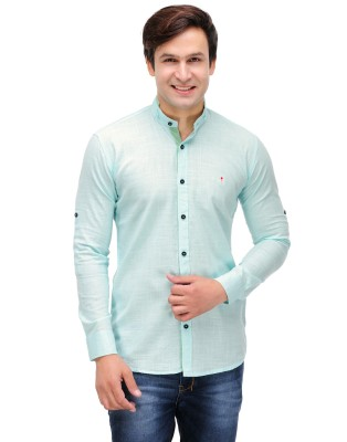 Finder Zone Men's Solid Casual Linen Light Blue Shirt
