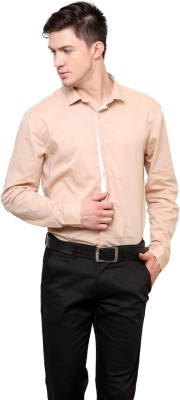 Azo Men's Solid Casual Brown Shirt