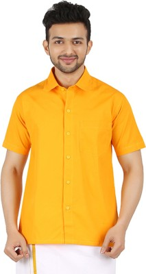 MEENAVISION Men's Solid Formal Yellow Shirt