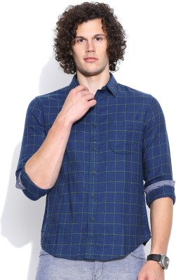 United Colors of Benetton Men's Checkered Casual Blue Shirt