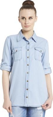 Globus Women's Solid Casual Blue Shirt