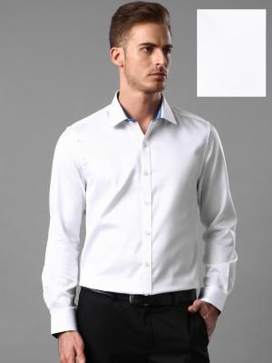 Invictus Men's Self Design Casual White Shirt