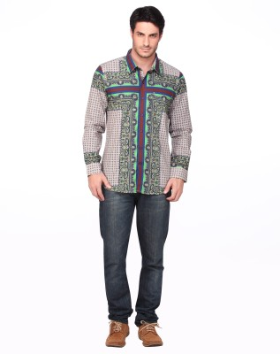 Fire & Ice Men's Printed Casual Green Shirt