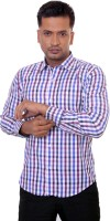 Countryside Formal Shirts (Men's) - Countryside Men's Checkered Formal Purple, Blue, White Shirt
