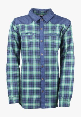 Cool Quotient Boy's Self Design Casual Reversible Blue Shirt
