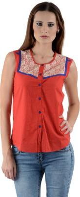 Kiosha Women's Solid Casual Red Shirt