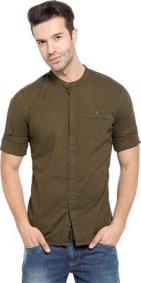 Status Quo Men,s Solid Casual Green Shirt