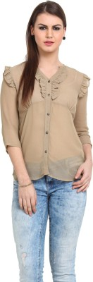 Sweet Lemon Women's Solid Casual Brown Shirt