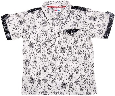 YOUNG BIRDS Boy's Printed Formal White Shirt